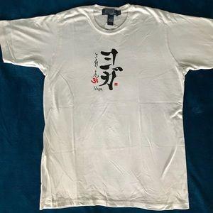 White bamboo organic cotton yoga kanji shirt